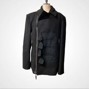 John Galliano Black Wool Cashmere Coat Italy